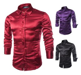 Discount rayon tee shirts - 2018 Spring Autumn Korean version of the simulation silk shiny bright casual male solid color Slim long-sleeved shirt men tops tee shirts