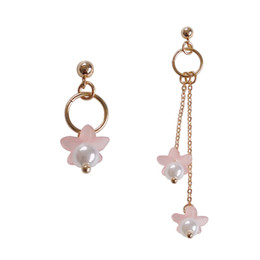 Wholesale Pink Chandelier Jewelry - Long Chain Asymmetric Flower Earrings Sweet Women Cherry Flowers Simulated Pearl Dangle Earrings Jewelry for Girl Gift
