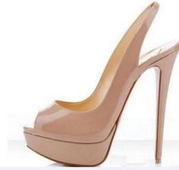 Canada Marque de mode Rouge Bas Talons Sexy Peep-toe Plate-Forme Rouge Semelle Chaussures Femmes Pompes 16 cm À Talons Hauts Chaussures De Pointure 34-42 Offre