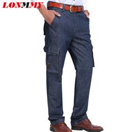 ed6c9a23c7 Pantalones vaqueros para hombre LONMMY Más bolsillos 65% Algodón Pantalones  rectos de carga pantalones de hombre Pantalones vaqueros de mezclilla  Pantalones ...