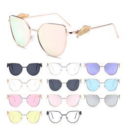 ee5546031b4 2018 katzen augen gläser rahmen Mode Frauen Vintage Cat Eye Metallrahmen  Flügel Dekoration UV Schutz Sonnenbrille