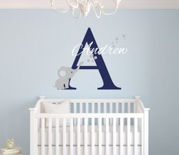 Wholesale Paper Wallpaper Baby - Custom Name Elephant Wall Stickers For Kids Room Personalized Boys Name Bedroom Nursery Wall Art Pic Baby Vinyl Wall Decals D671