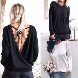 Blusa larga ocasional trasera online-2018 blusa de encaje camisas mujeres 2018 blusas de otoño de manga larga ahueca hacia fuera la parte posterior Tops casuales Blusas Chemise Femme camisas FS5810