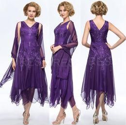 vestido de longitud de té de gasa púrpura Rebajas Elegante vestido de gasa morada hasta el suelo con forma de gasa Vestidos para el novio con envoltura Más el tamaño con cuello en V Hollow Volver vestidos de noche
