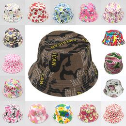 Wholesale Art Prints Beach - 18 Styles Baby Sun Hat Toddler Unisex Canvas Bucket Dot Floral Style Summer Beach Leisure Hat 2-6 Age Support FBA Drop Shipping G851F