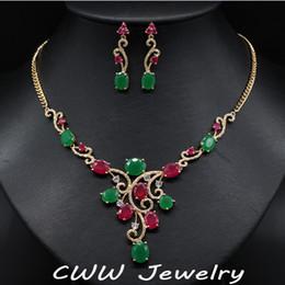 collar esmeralda de la boda fija Rebajas CWWZircons Vintage Yellow Gold Color Natural Rojo y Verde Creado Emerald Nupcial Collar Pendientes Joyería Set Para Boda T122