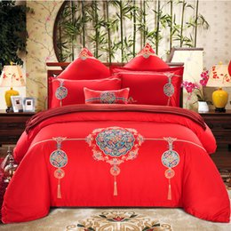 Wholesale Embroidered Pink Duvet Covers - Oriental embroidery Luxury wedding Bedding Set Cotton Silky 4 7pcs King Queen Size red Bed Set Duvet Cover Bed sheet