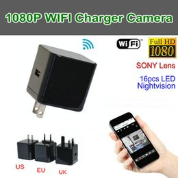 Wholesale Hidden Night Vision Ip Camera - HD Mini WiFi Adapter Camera H.264 1080P IR Night Vision WiFi Wireless Hidden Camera Charger Cam Camcorder Home Security P2P IP Monitor