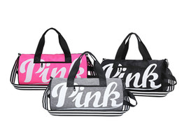 Wholesale sports bag luggage - Large Pink Letter Duffle Travel Bags for Women Girls Sports Gym Yoga Carry On Luggage Large Capacity Waterpproof Durable Tote Shoulder Bags