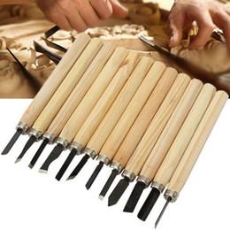coltello ad anello di difesa Sconti 12 pz / set manico in legno Carving Knife kit DIY incisione coltelli taglierina per la Lavorazione del Legno macchina per incidere utensile a mano