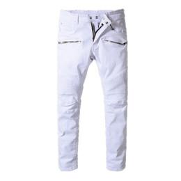 Wholesale light color jeans for men - 2018 balmain mens designer biker jeans solid color fashion skinny Jogging pants casual man trousers brand Hip Hop Harem pants for man