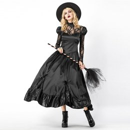 7a4e123ba47 Sexy Black Witch Costume Party Adult Magic Moment Cosplay Halloween Costumes  for Women Role Playing Long Dress W158854
