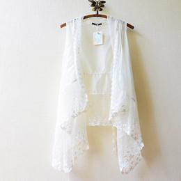 maglia bianca da donna in pizzo di cotone Sconti Lady Summer Thin Vest Scialle Mori Girl Lace Cotton Fairy White Gilet Gilet Protezione solare Abbigliamento donna Hippie Boho Giacca casual