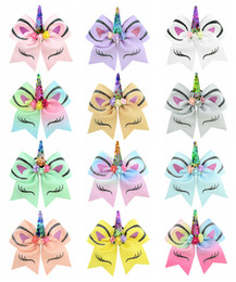 2019 accesorios cintas para el cabello 7 Pulgadas 12 Colores Niños Unicornio bronceado flip lentejuelas cola de milano arco cintas para el cabello Niñas Pinzas para el Cabello Bebé Accesorios para el cabello rebajas accesorios cintas para el cabello