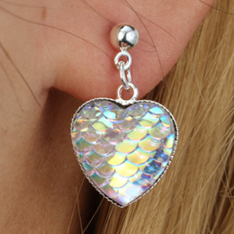 Wholesale Sequins Earrings - 2018 Hot Mermaid scale earrings stud fashion heart shape Mermaid sequins earring studs for women girls best gift