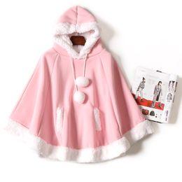 Wholesale Fresh Hoodies - Spring new Women Kawaii Cape Japanese Batwing Sleeve Cute Girls Hood Harajuku Cloak Fleece Fresh Hoodies Young Girls Students