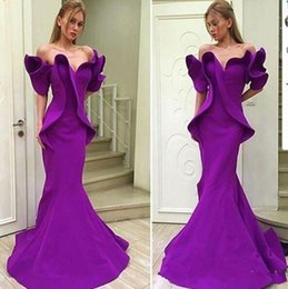 Canada Arabe Dubaï Purple Mermaid Robes de bal simple hors épaule volants balayage train formel soirée robes de soirée robe de soirée supplier simple mermaid satin evening dresses Offre
