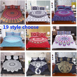 housse de couette mandala Promotion 19 Designs Bedding Sets For Duvet Cover Pillow Case Cover 3pcs Set Elephant Mandala Bohemian Quilt Cover Supplies Decorative Gift HH7-1792