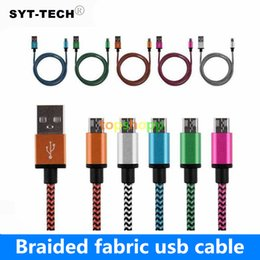 Wholesale weave line - Colorful 1M Aluminum Micro USB Data Sync Charger Cable Cord Weave Rope Cable Data Line For Smart Phone USB Cable Braided cell phone