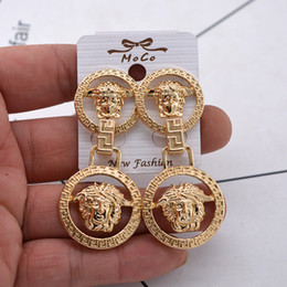 Wholesale acrylic head - Gold Plated head Earring fashion brand new style crystal Round Medusa Stud For Women Girl Gift