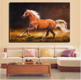 Dipinti impressionisti online-Cavallo Canvas Paintings Impressionista Galloping Brown Horse Poster e stampe per Living Room Wall Horse Home Pictures