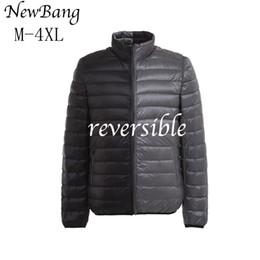 Wholesale Side Bags Men - 2017 New Men Ultra Light Duck Down Jacket Autumn Winter Double Side Feather Reversible Parka With Carry Bag Plus Size 4XL