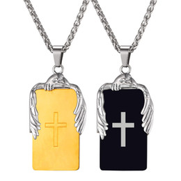 Wholesale Unique Stainless Designs - U7 Jewelry Cross Pendant Necklace Eagle Square Tag Unique Design Stainless Steel 18K Gold Plated Chain Cross Jewelry GP2709