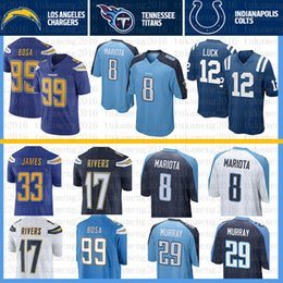 fa720a5f3 Los Angeles Chargers 17 Philip Rivers 99 Joey Bosa 33 Derwin James Jersey  Indianapolis 12 Colts Andrew Luck Titans 8 Marcus Mariota Murray