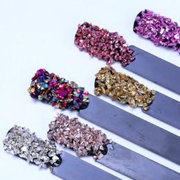 2g стекло Скидка 1 Box Broken nail gems mixed glass rhinestones 3D gems nail stones for nails art rhinestones decorations 15 colors 2g/Box
