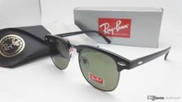 Wholesale Pink Wayfarer Sunglasses - New Club Sunglasses Cat Eye Wayfarers Brand RAYs Master Sun Glasses Bands Gafas de sol Men Women BEN BANS Mirror 9K0 with case
