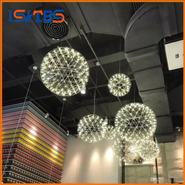 Wholesale dixon ball - Pendant Lamps Modern living room pendant light stainless steel ball led firework light restaurant villa hotel project lighting