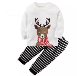 Wholesale Boys Christmas Pajamas 12 - Christmas kid pajamas outfits top+pant deer white black 2-piece kid clothing baby cotton long sleeve clothes boy girl family outfits suit B1