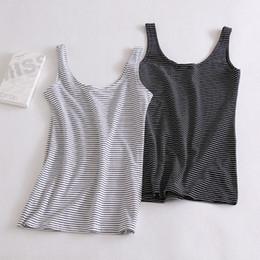 Wholesale U Base - Pure Cotton Women U Vest Black and White Striped Tank Top Female 2016 Summer Slim Fit Singlet Tops Ladies Base Vest NT121