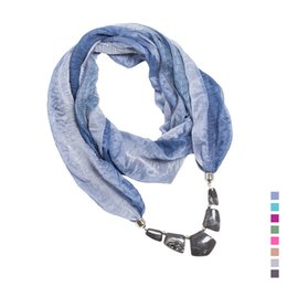 Wholesale Choker Scarf Necklace - whole saleLureme Jewelry Autumn Winter Style New Women's Fashion Gradual Colors Scarf With 5 Geometric Obscure Bead