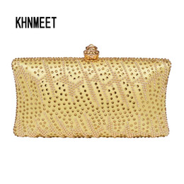 Golden Hot drilling Fashion Crystal Evening Bag Women Green box clutch bag  Iphone 6 Wedding Purse Party pochette 38 golden party clutches outlet 4dfe7345bedd