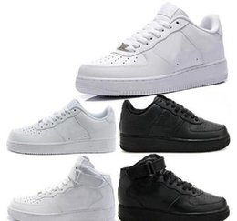 Wholesale Black Air Force Ones - New Classical Men Womens Forcing 1 One Running Shoes Air Famous Trainers Sports Skateboarding Shoes White Black Eur 36-46 Free shipping