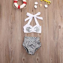 trajes de baño princesa Rebajas Princesa bebé niñas sirenita bikini 2 unids / set traje de baño traje de baño traje de baño niños niñas traje de baño