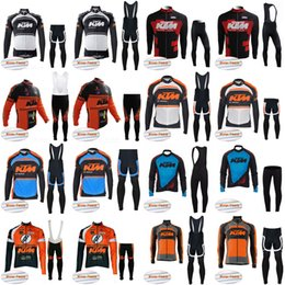 Wholesale fleece outdoor pants - KTM team cycling jerseys Bisiklet sport suit bike maillot Winter Thermal Fleece (bib) pants sets outdoor sportwear E1510