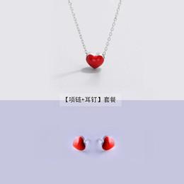 Argent 925 boucles d'oreilles + collier pour les ensembles de bijoux de mode pour femmes mignon minuscule glaçure rouge coeur boucles d'oreilles pour les filles enfants Lady cadeau ? partir de fabricateur