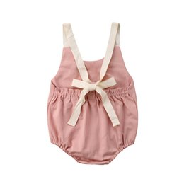 nuevo mono más caliente al por mayor Rebajas Toddler Baby Girl Bowknot Body Backless sin mangas Lindo Casual Mono sólido Outfit Summer Fashion 2018 Nuevo Hot Wholesale