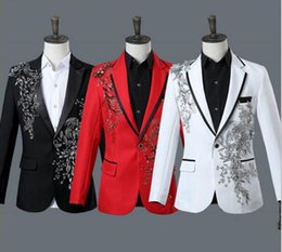 Wholesale Host Club - (jacket+pants) male suit host stage wear singer nightclub bar prom costumes glee club show performance sequins set with diamonds