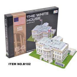Wholesale paper house models - Large 3D puzzle paper model White House Sydney Opera House Dubai Yacht Hotel New York St Patrick's Church Details of the show Building model