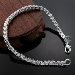 Wholesale men bracelet sterling silver snake - Fine 925 Sterling Silver Bracelet for Women Men,Fashion 925 Silver Boxes Chain 8inch Bracelet Italy New Arrival Xmas Best Gfit AH172