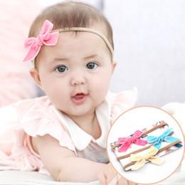 Wholesale velvet elastic headbands - Fashion Baby Girls Bowknot Headbands Newborn Kids alete Elastic hairband Tie Bow velvet headband Children Hair Accessories KHA619