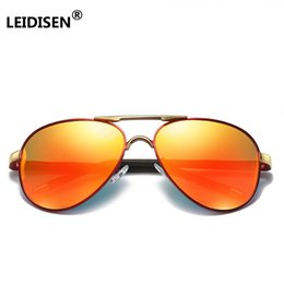 72cd31e744bf LEIDISEN Brand Design Classic Pilot Sunglasses Men Polarized Mirror Gold  Frame UV400 Glass Goggles For Male Driving Fishing