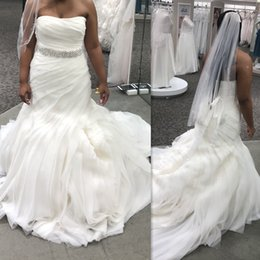 2019 Gorgeous Wedding Dresses Strapless Plus Size African Women Bridal Gowns  With Sash Organza Tiered Skirts Black Girl Vestido De Noiva a74a98401c04