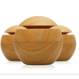 Wholesale Fogger Atomizer - 130ml Wood Grain Humidifier Ultrasonic Humidifier Air Purifier Atomizer Mist Maker Fogger Essential Oil Aromatherapy Diffuser for Home Yoga