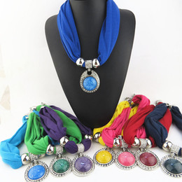 Wholesale Wholesale Polyester Resin - Round Resin Pendant Necklace Women Bohemian Long Colorful Polyester Scarf Necklaces 2018 New Jewelry Accessories Wholesale Free Shipping