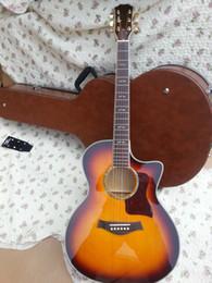 Wholesale Acoustic Pink - OEM solid spruce top,sunburst color 41 inch cut away acoustic guitar 614