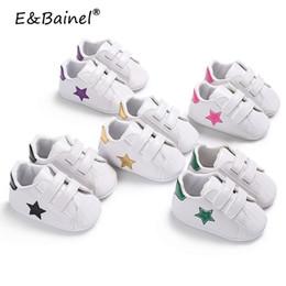 2019 tecido padrão sapatos bebê Cinco Estrelas Imprimir Sapatos de Bebê Da Criança Primeiros Caminhantes Bebê Mocassins PU de Couro Macio Solado Meninas Sneakers Recém-nascidos Meninos Calçados